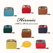HERMES Silk In Unisex Calfskin Blended Fabrics Plain Coin Purses