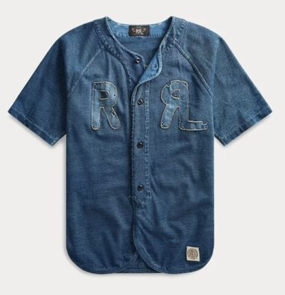 Button-down Denim Street Style Cotton Short Sleeves Logo