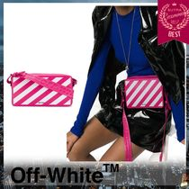 Off-White Stripes Unisex Leather Shoulder Bags