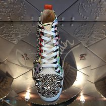 Christian Louboutin Stripes Studded Street Style Plain Leather Sneakers