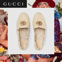 GUCCI Platform Round Toe Casual Style Blended Fabrics