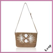Ron Herman Tropical Patterns Casual Style Plain Handmade Shoulder Bags