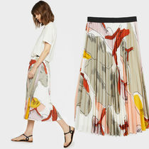 PARFOIS Casual Style Pleated Skirts Long Maxi Skirts