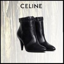CELINE Plain Leather Elegant Style Ankle & Booties Boots