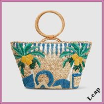 Ron Herman Tropical Patterns Casual Style A4 Plain Handmade Totes