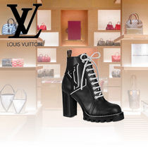 Louis Vuitton Sheepskin Plain Block Heels Elegant Style
