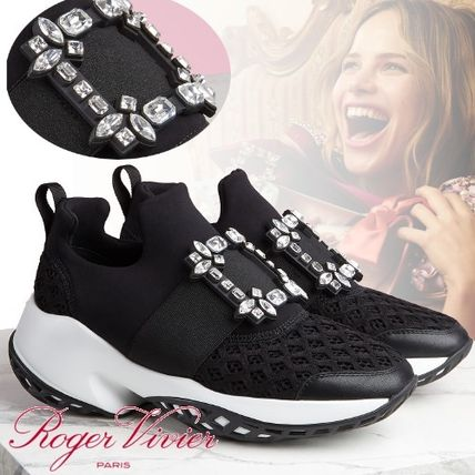 Rubber Sole Casual Style Leather With Jewels Dad Sneakers