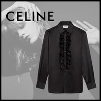 CELINE Silk Long Sleeves Plain Medium Shirts & Blouses