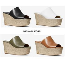Michael Kors Open Toe Plain Leather Platform & Wedge Sandals
