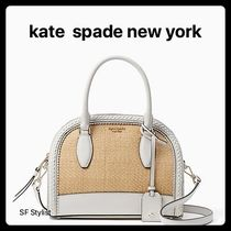 b644ee5a4 kate spade new york Blended Fabrics 2WAY Plain Leather Straw Bags