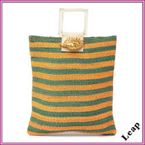 ARANAZ Stripes Tropical Patterns Casual Style A4 Handmade Totes