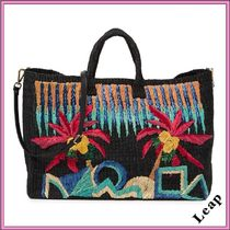 ARANAZ Tropical Patterns Casual Style A4 2WAY Plain Handmade Totes