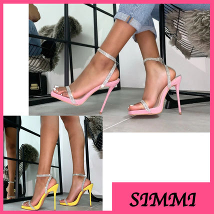 Open Toe Casual Style Suede Plain Pin Heels Sandals