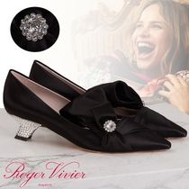 Roger Vivier Plain With Jewels Elegant Style Kitten Heel Pumps & Mules