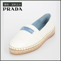 PRADA Round Toe Rubber Sole Casual Style Plain Leather