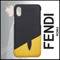 FENDI BAG BUGS Plain Leather Smart Phone Cases