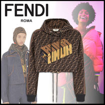 FENDI Short Monogram Street Style Long Sleeves Cotton Cropped