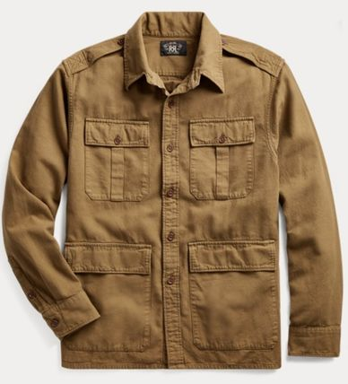 RRL Street Style Long Sleeves Cotton Surf Style Shirts