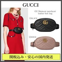 GUCCI GG Marmont Casual Style Plain Leather Hip Packs