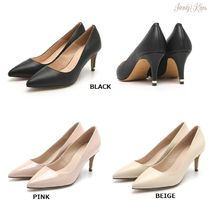 Jinny Kim Argile Plain Toe Street Style Plain Leather Pin Heels