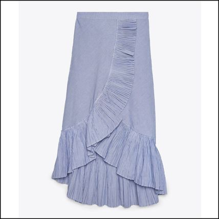 Stripes Cotton Medium Elegant Style Midi Skirts