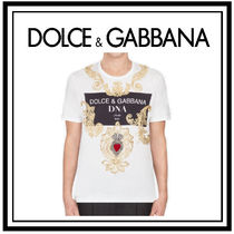 Dolce & Gabbana Crew Neck Pullovers Unisex Cotton Short Sleeves