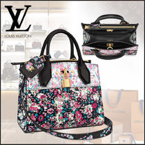 Louis Vuitton CITY STEAMER Flower Patterns 2WAY Leather Elegant Style Handbags