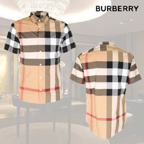 Burberry Other Check Patterns Short Sleeves Shirts