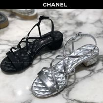 CHANEL Open Toe Plain Block Heels With Jewels Elegant Style Sandals