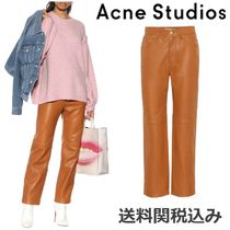 Acne Plain Leather Long Elegant Style