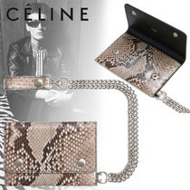 CELINE Blended Fabrics Street Style Chain Leather Python