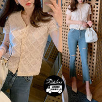 Casual Style Medium Short Sleeves Lace Shirts & Blouses