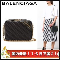 BALENCIAGA EVERYDAY TOTE Monogram Casual Style Calfskin 2WAY Chain Shoulder Bags