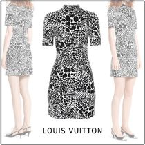 Louis Vuitton 2019-20AW SHORT SLEEVED PRINTED FITTED DRESS noir 34-42