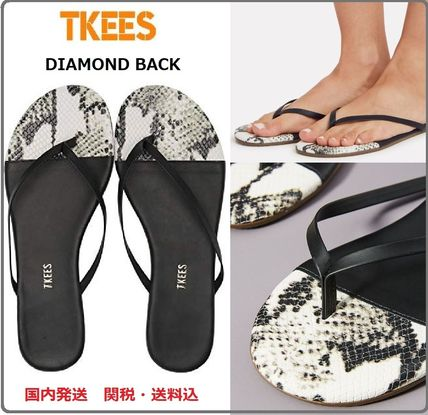 Open Toe Rubber Sole Casual Style Leather Flip Flops Python