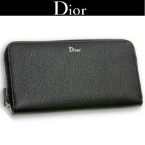Christian Dior Plain Leather Long Wallets