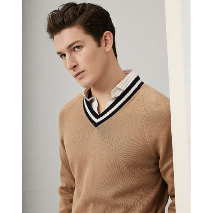 Crew Neck Pullovers Cashmere Long Sleeves Plain Cotton