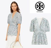 Tory Burch Flower Patterns Puffed Sleeves Shirts & Blouses