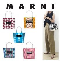 MARNI MARNI MARKET Other Check Patterns Zigzag Handmade PVC Clothing Straw Bags