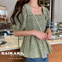 Other Check Patterns Casual Style Puffed Sleeves Medium