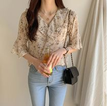 Flower Patterns Chiffon Cropped Medium Elegant Style