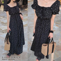 Heart Dots Casual Style A-line Puffed Sleeves Long Dresses
