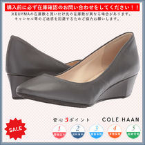 Cole Haan Round Toe Casual Style Plain Leather Wedge Pumps & Mules