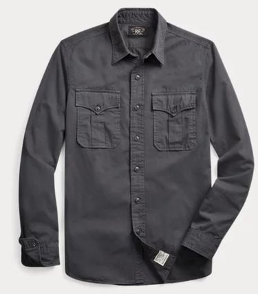 RRL Street Style Long Sleeves Plain Cotton Surf Style Shirts