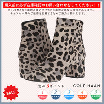 Cole Haan Leopard Patterns Round Toe Casual Style Chunky Heels