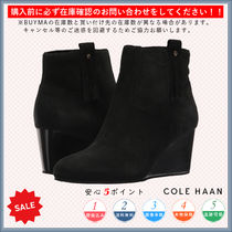 Cole Haan Round Toe Casual Style Suede Plain Wedge Boots