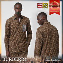 Burberry Stripes Monogram Long Sleeves Cotton Shirts