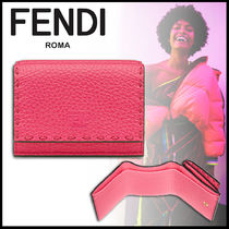 FENDI SELLERIA Calfskin Plain Folding Wallet Folding Wallets