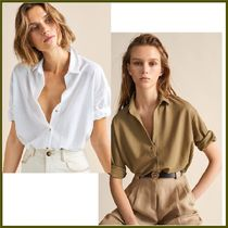 Massimo Dutti Casual Style Cropped Plain Medium Shirts & Blouses