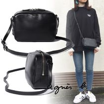 Agnes b Plain Leather Logo Shoulder Bags